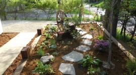 鉄平石、花壇、枕木、車輪