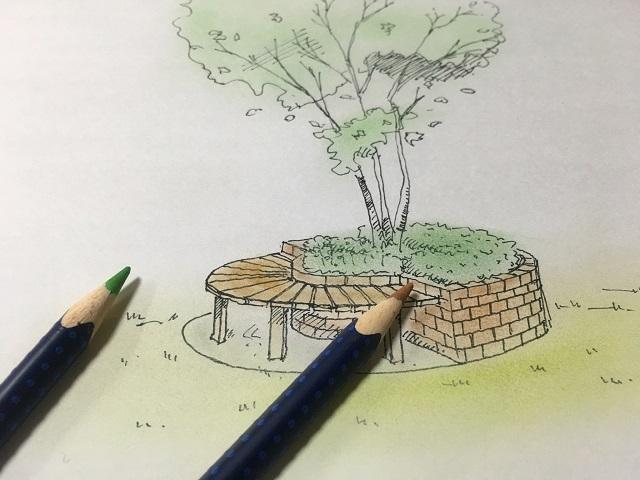 ベンチ花壇